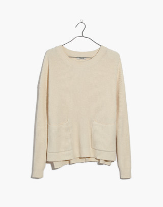Patch Pocket Pullover Sweater in bright ivory image 4