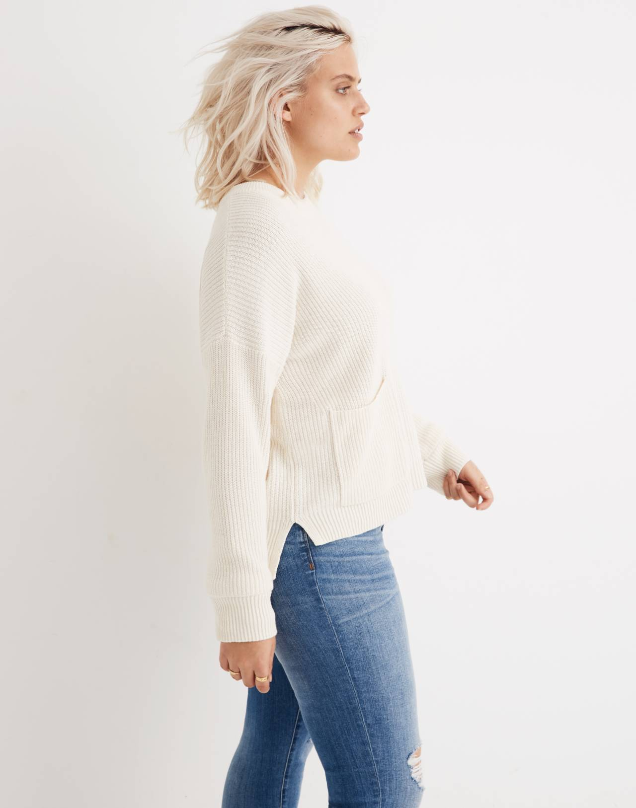 Patch Pocket Pullover Sweater in bright ivory image 1