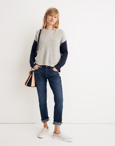Patch Pocket Pullover Sweater in Colorblock in heather navy image 2