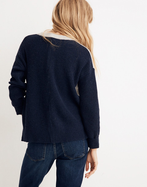Patch Pocket Pullover Sweater in Colorblock in heather navy image 3