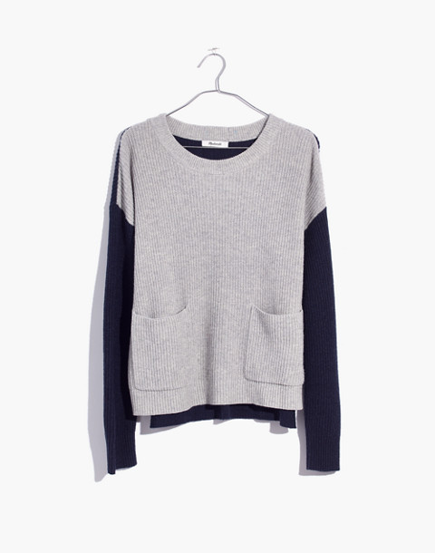 Patch Pocket Pullover Sweater in Colorblock in heather navy image 4