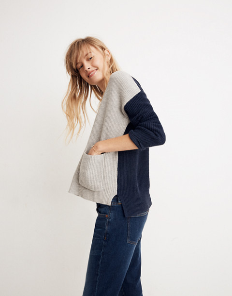 Patch Pocket Pullover Sweater in Colorblock in heather navy image 1