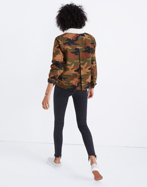 Northward Cropped Army Jacket in Cottontail Camo: Sherpa Edition in bunny classic desert image 2