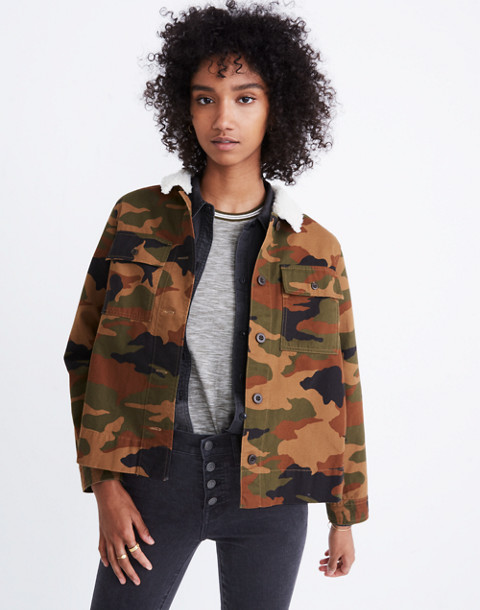 Northward Cropped Army Jacket in Cottontail Camo: Sherpa Edition in bunny classic desert image 1