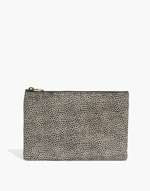The Leather Pouch Clutch in Striped Calf Hair in pale fatigue image 1