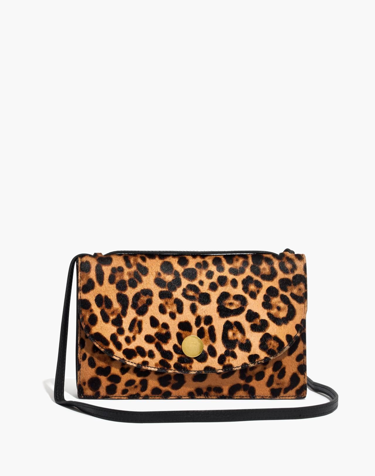 The Slim Convertible Bag in Leopard Calf Hair in truffle multi image 1