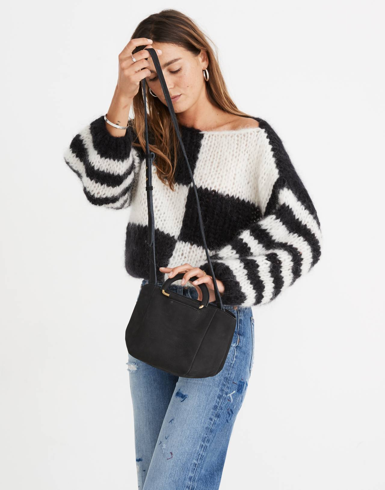The Top-Handle Mini Bag in true black image 2