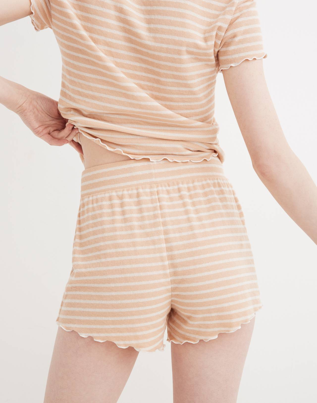 Ruffled Pajama Shorts in Stripe in voile pink image 2