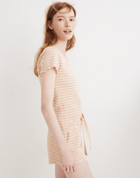 Ruffled Pajama Shorts in Stripe in voile pink image 3