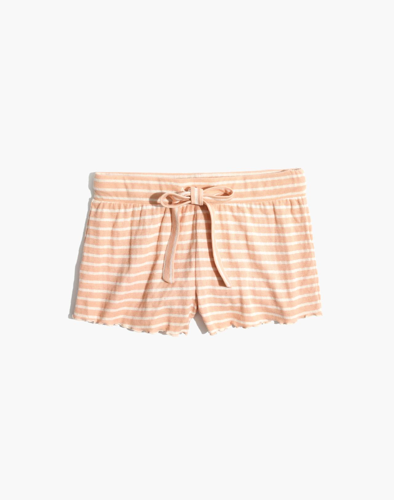Ruffled Pajama Shorts in Stripe in voile pink image 4