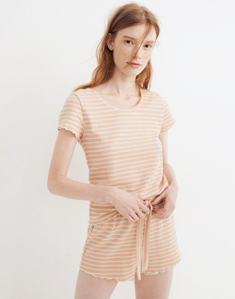 Ruffled Pajama Shorts in Stripe in voile pink image 1