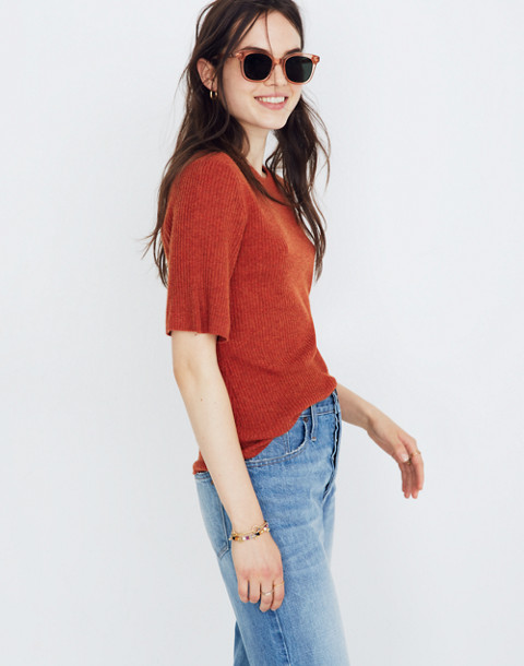 Flounce-Sleeve Ribbed Sweater Top in hthr pumpkin image 2