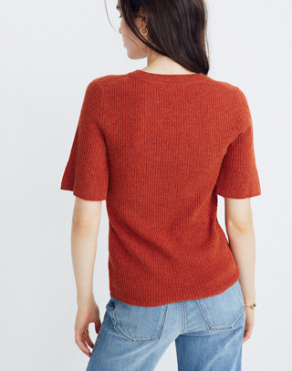 Flounce-Sleeve Ribbed Sweater Top