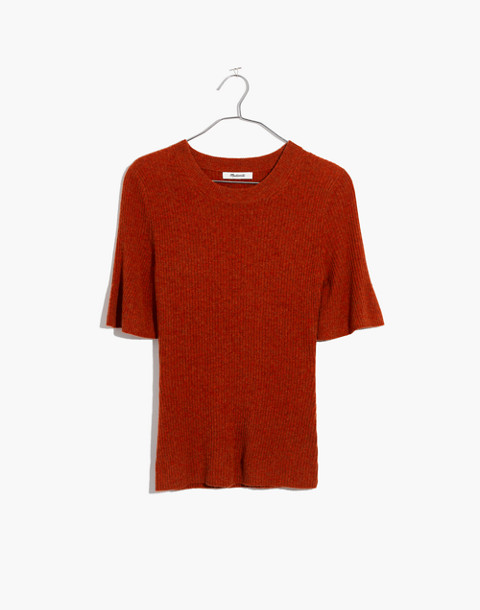 Flounce-Sleeve Ribbed Sweater Top in hthr pumpkin image 4