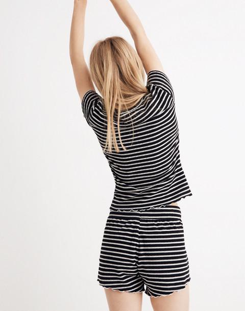 Ruffled Pajama Tee in Stripe in classic black image 3