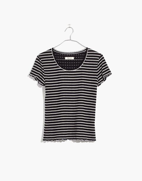 Ruffled Pajama Tee in Stripe in classic black image 4