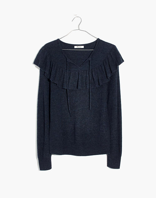 a02ac93dc5e0 Ruffled Tie-Front Pullover Sweater in hthr navy image 1