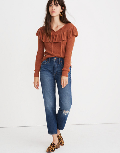 Ruffled Tie-Front Pullover Sweater in hthr glaze image 2