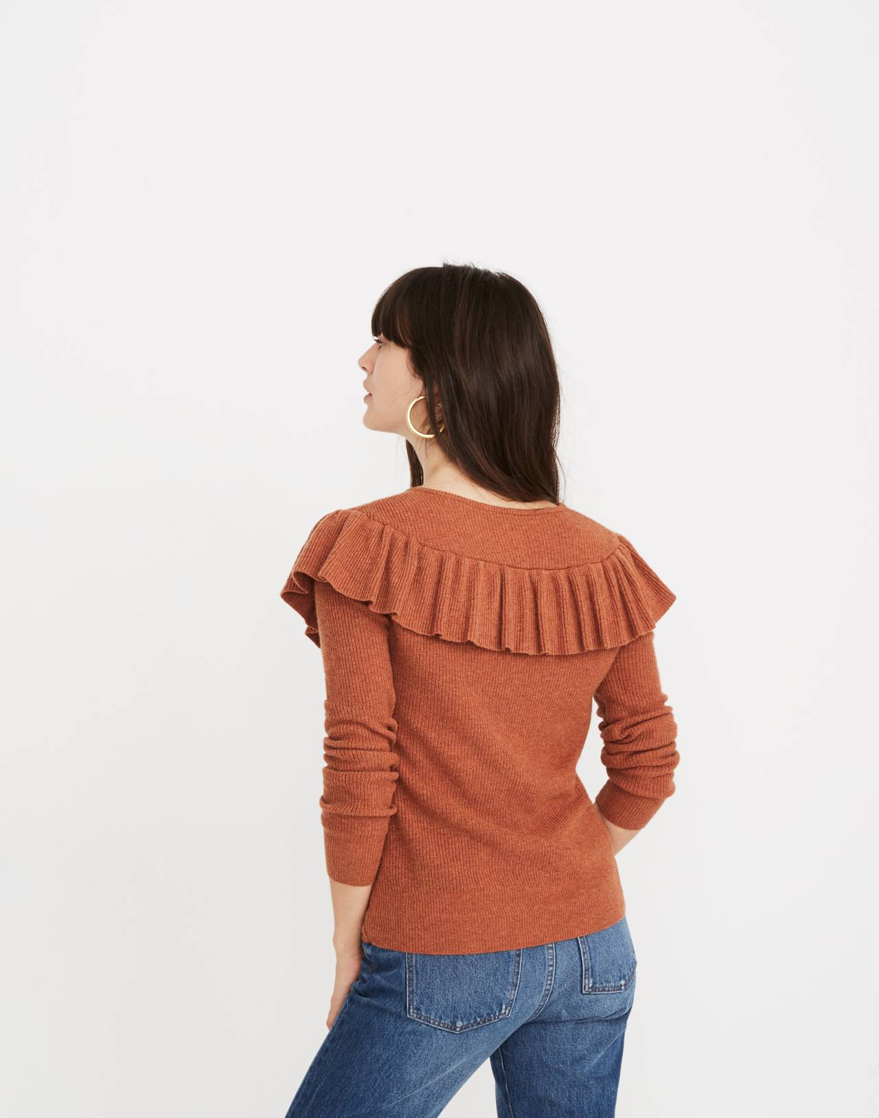 Ruffled Tie-Front Pullover Sweater in hthr glaze image 3