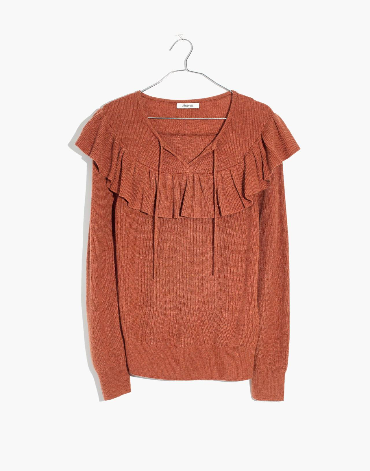 Ruffled Tie-Front Pullover Sweater in hthr glaze image 4
