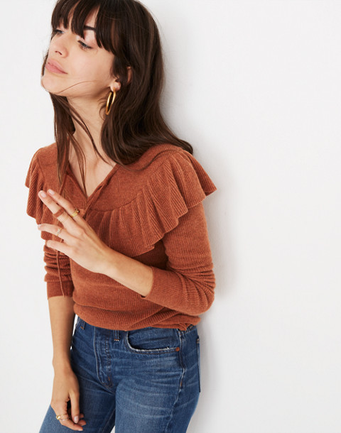 Ruffled Tie-Front Pullover Sweater in hthr glaze image 1