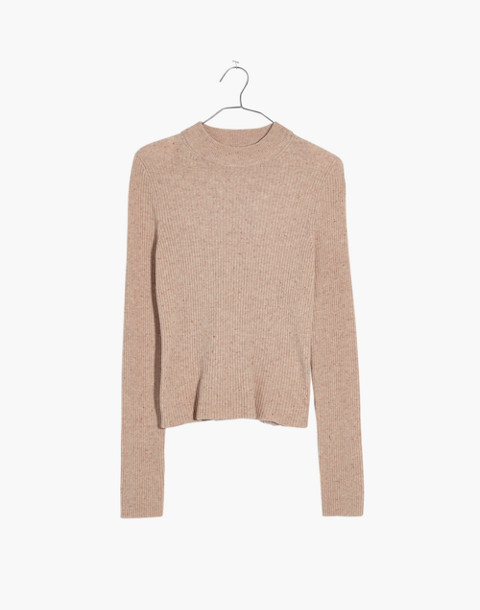 Mockneck Pullover Sweater in donegal oyster image 4