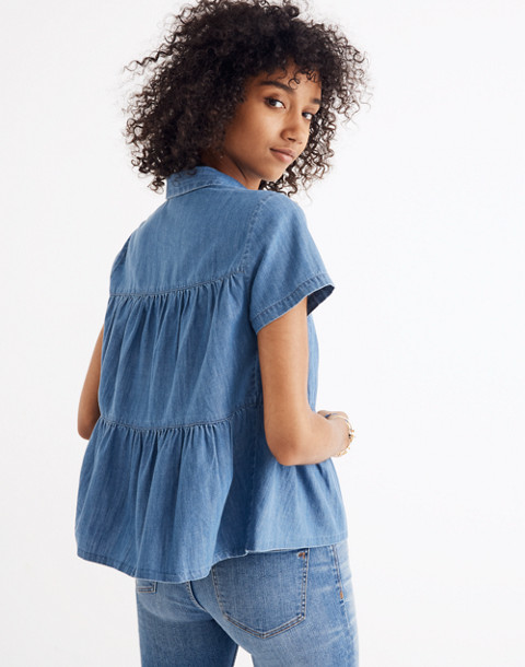 Denim Seamed Button-Down Shirt in lang wash image 3