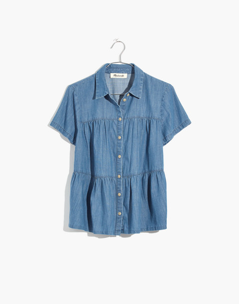 Denim Seamed Button-Down Shirt in lang wash image 4