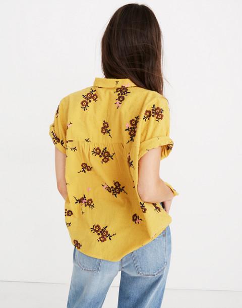 Embroidered Hilltop Shirt in Retro Bouquet Clipdot in aqua image 3