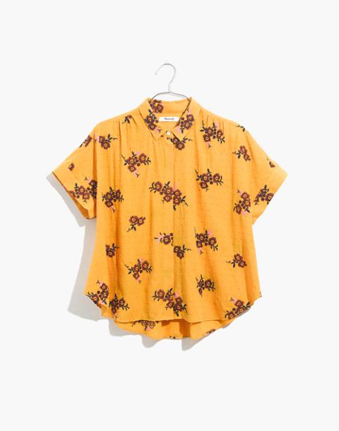 Embroidered Hilltop Shirt in Retro Bouquet Clipdot in aqua image 4