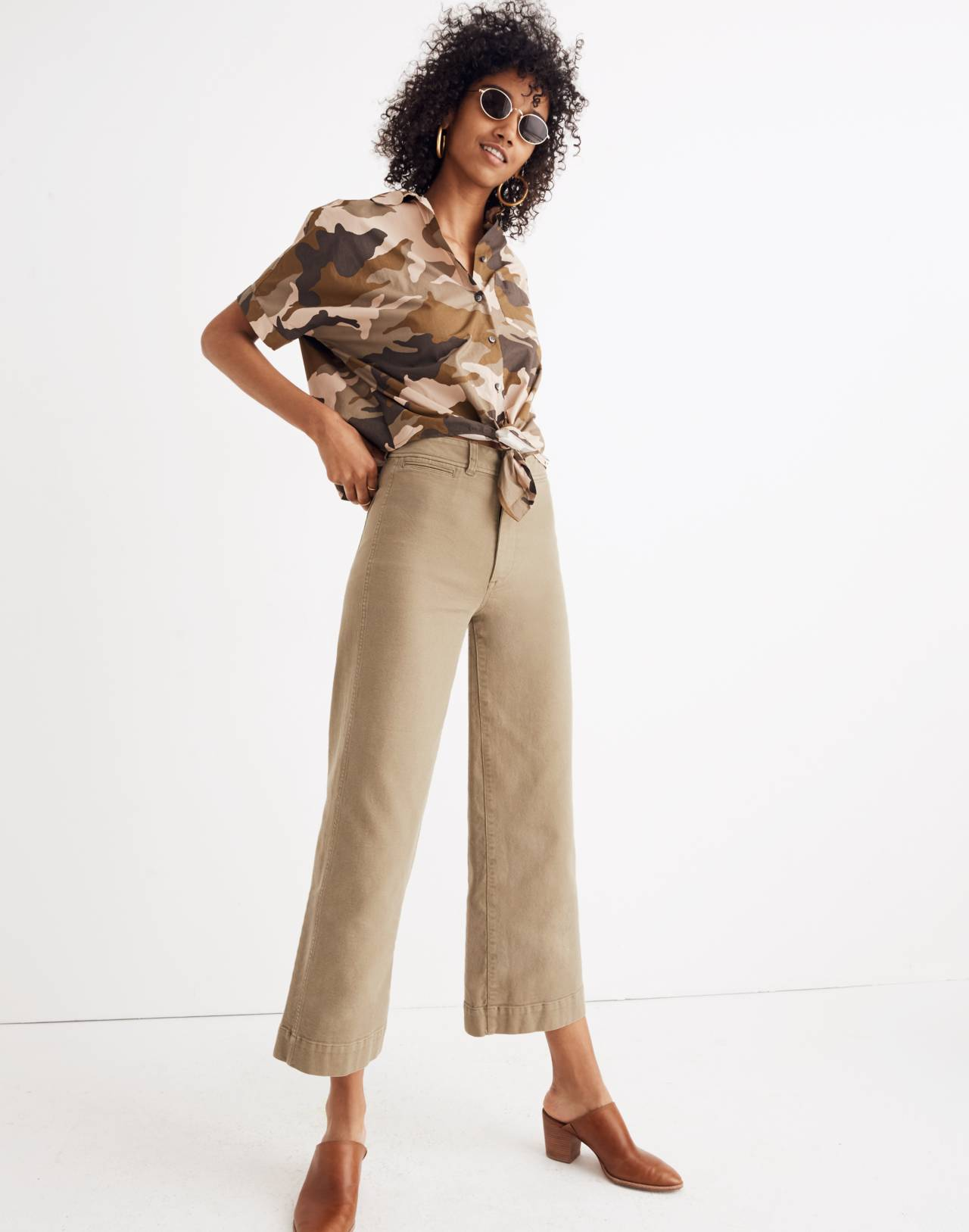 Short-Sleeve Tie-Front Shirt in Cottontail Camo in bunny camo asparagus image 2