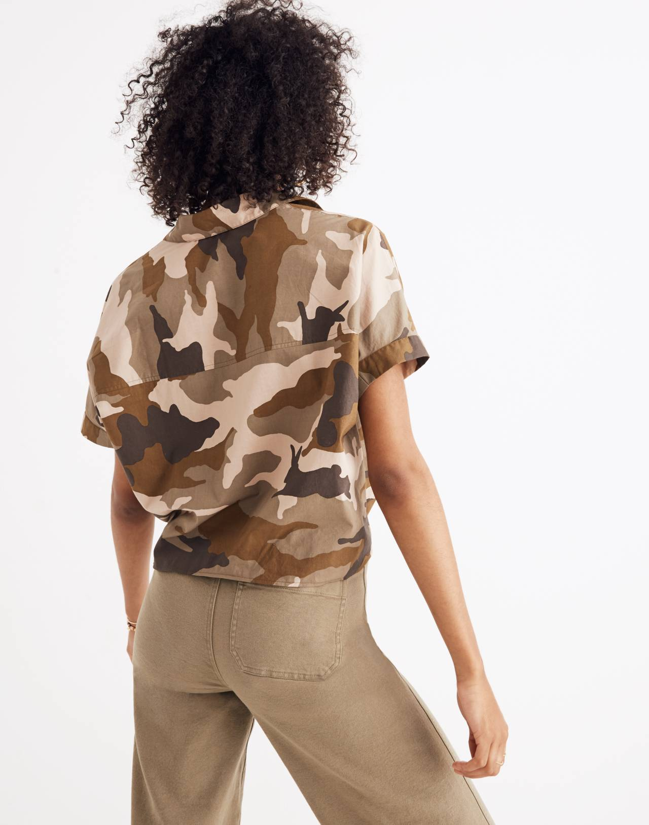 Short-Sleeve Tie-Front Shirt in Cottontail Camo in bunny camo asparagus image 3
