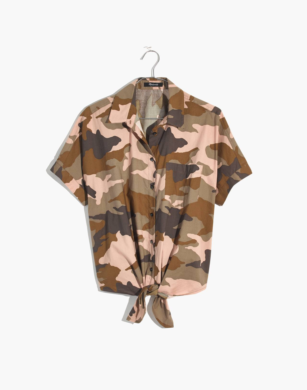 Short-Sleeve Tie-Front Shirt in Cottontail Camo in bunny camo asparagus image 4