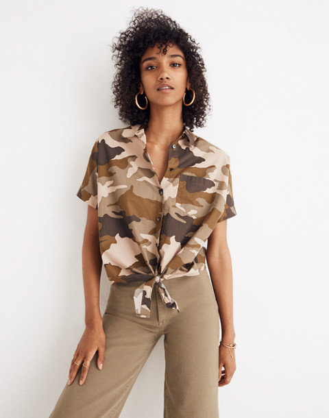 Short-Sleeve Tie-Front Shirt in Cottontail Camo in bunny camo asparagus image 1