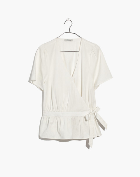 Ruffle-Hem Wrap Top in pure white image 4