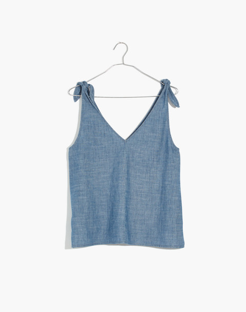Chambray Tie-Strap Top in light fade image 4