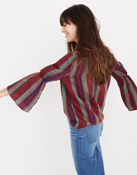 Embroidered Pleat-Sleeve Top in Rosalinda Stripe in dusty burgundy image 2