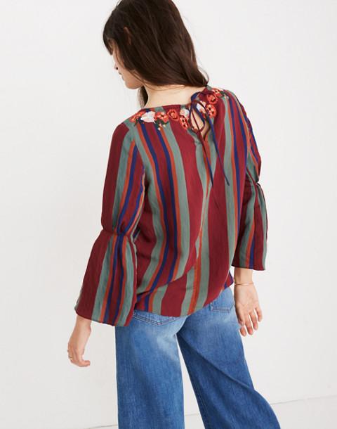 Embroidered Pleat-Sleeve Top in Rosalinda Stripe in dusty burgundy image 3