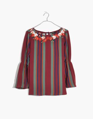Embroidered Pleat-Sleeve Top in Rosalinda Stripe in dusty burgundy image 4