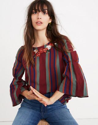 Embroidered Pleat-Sleeve Top in Rosalinda Stripe in dusty burgundy image 1