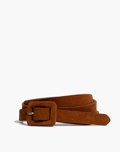 Suede Covered Buckle Belt in maple syrup image 1