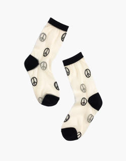 Madewell x Hansel from Basel™ Sheer Crew Socks in Peace Signs