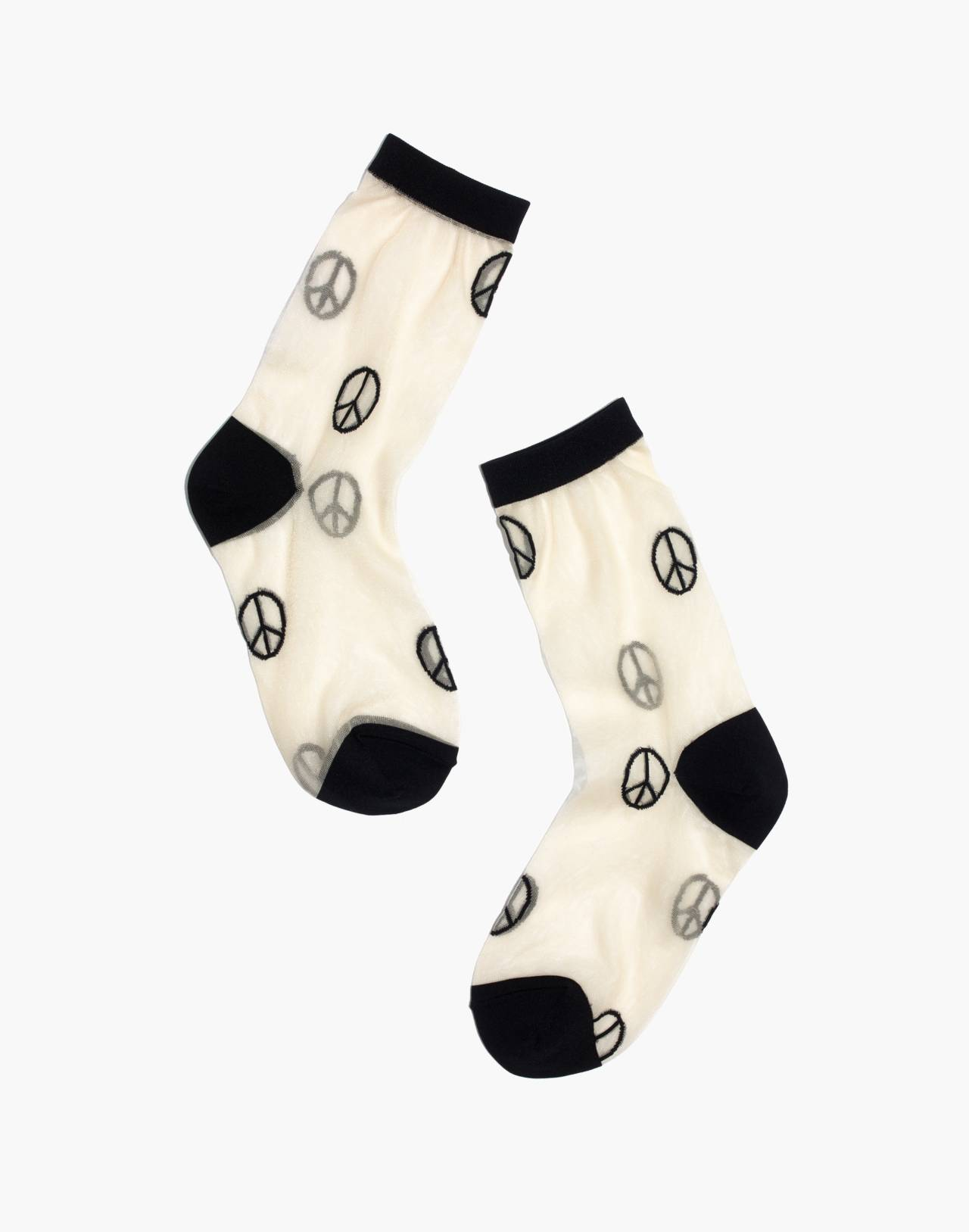 Madewell x Hansel from Basel™ Sheer Crew Socks in Peace Signs in peace sign multi image 1