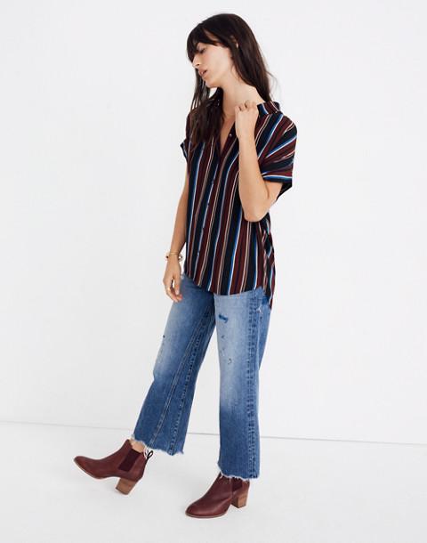 Central Drapey Shirt in Menford Stripe in modern classic black image 2
