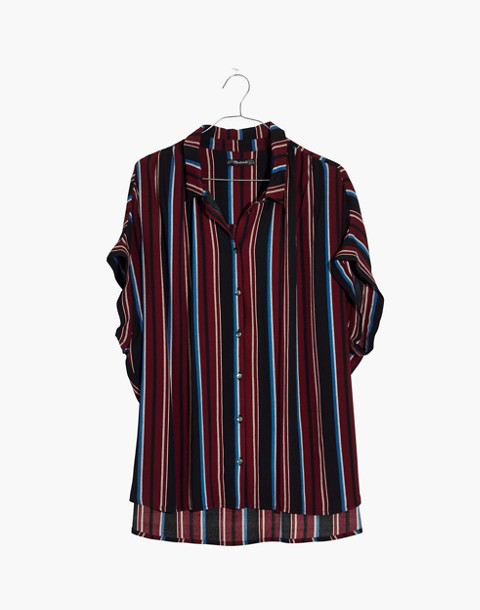 Central Drapey Shirt in Menford Stripe in modern classic black image 4