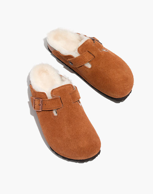 Birkenstock® Suede Boston Clogs In Shearling by Madewell