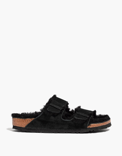 Birkenstock® Suede Arizona Sandals in Shearling in black image 3