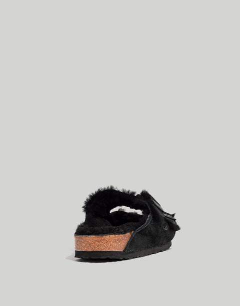 Birkenstock® Suede Arizona Sandals in Shearling in black image 4