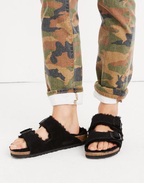 Birkenstock® Suede Arizona Sandals in Shearling in black image 2