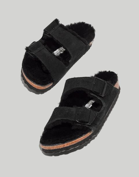 Birkenstock® Suede Arizona Sandals in Shearling in black image 1
